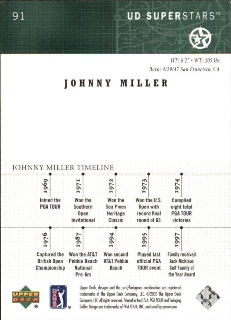 2002-03 UD SuperStars #91 Johnny Miller back image