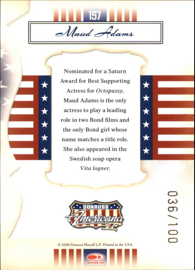 2008 Americana II Gold Proofs #157 Maud Adams back image