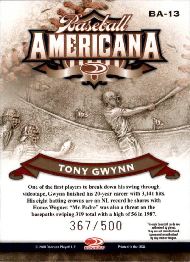 2008 Donruss Threads Baseball Americana #13 Tony Gwynn back image