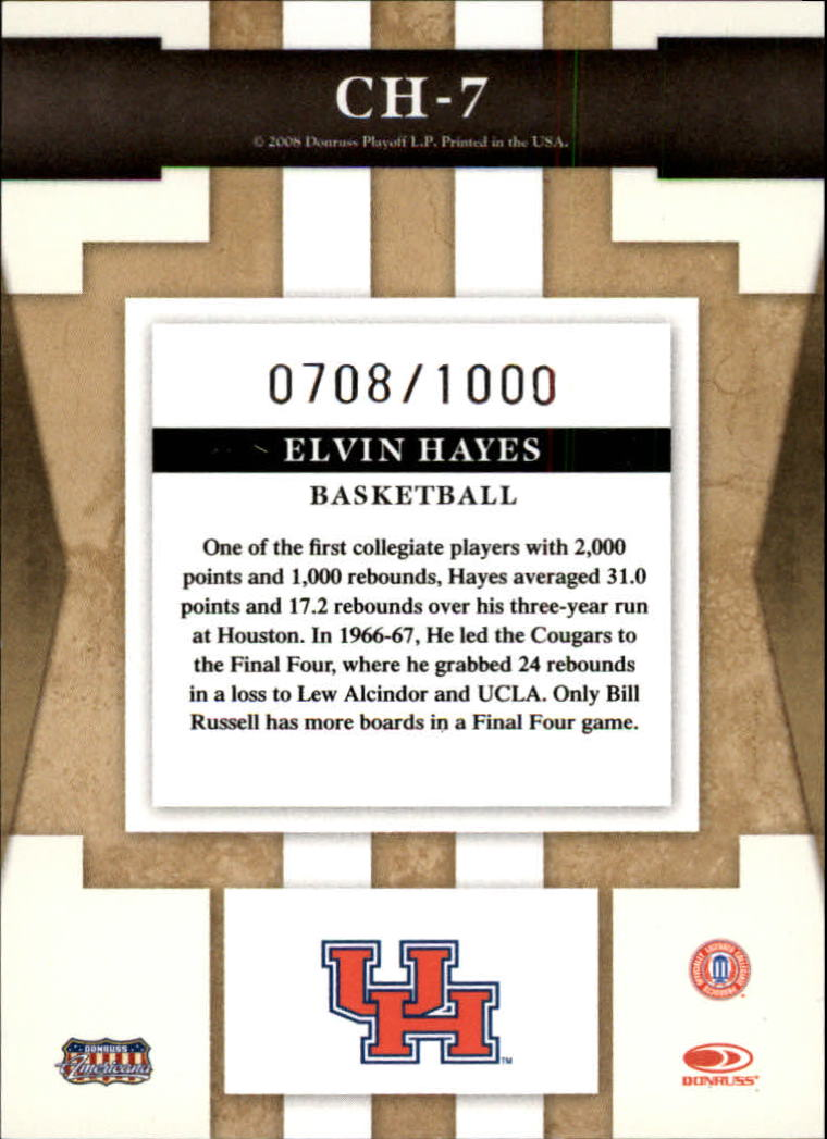 2008 Donruss Sports Legends College Heroes #7 Elvin Hayes back image
