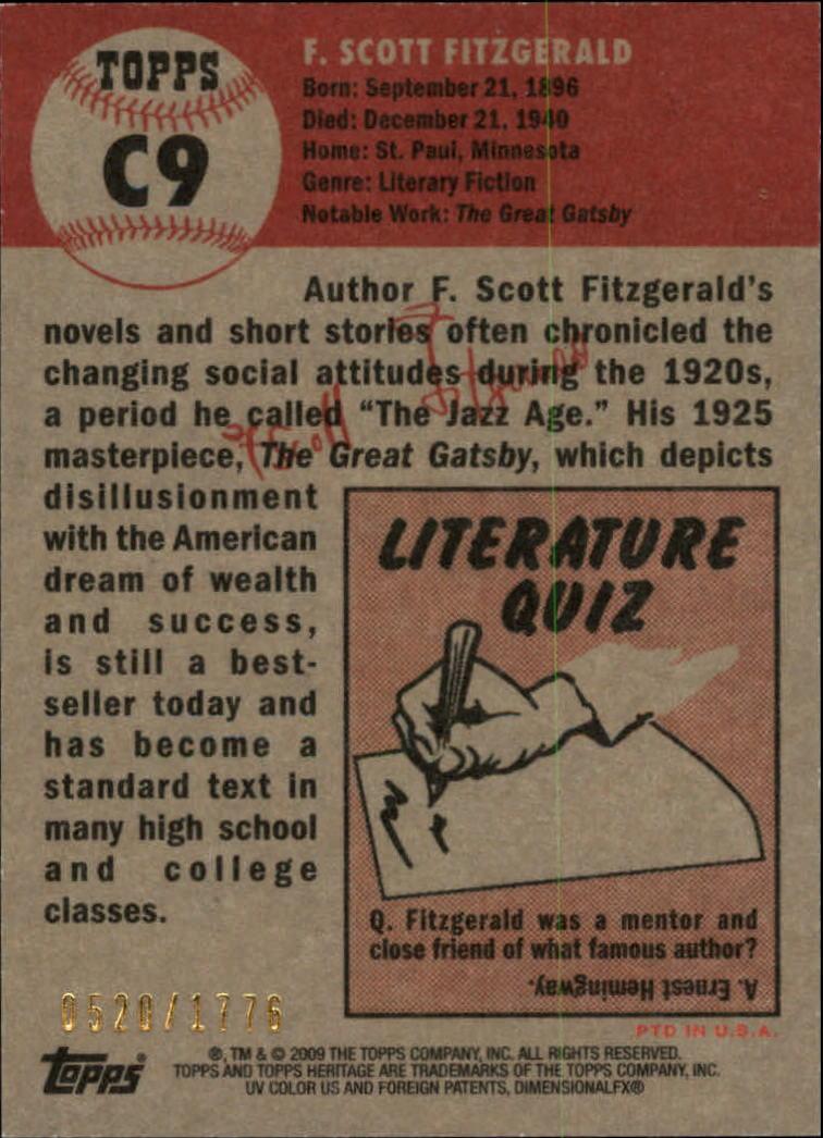 2009 Topps American Heritage Chrome #C9 F. Scott Fitzgerald back image