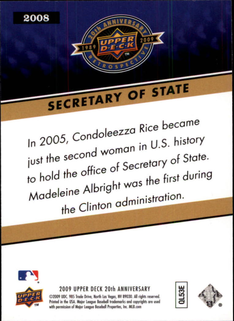 2009 Upper Deck 20th Anniversary #2008 Condeleeza Rice back image