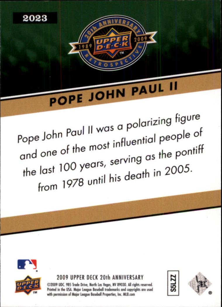 2009 Upper Deck 20th Anniversary #2023 Pope John Paul II back image