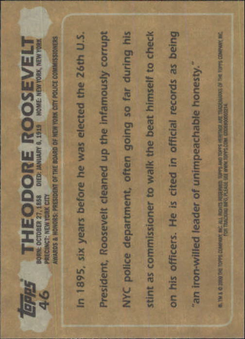 2009 Topps American Heritage Heroes #46 Theodore Roosevelt back image