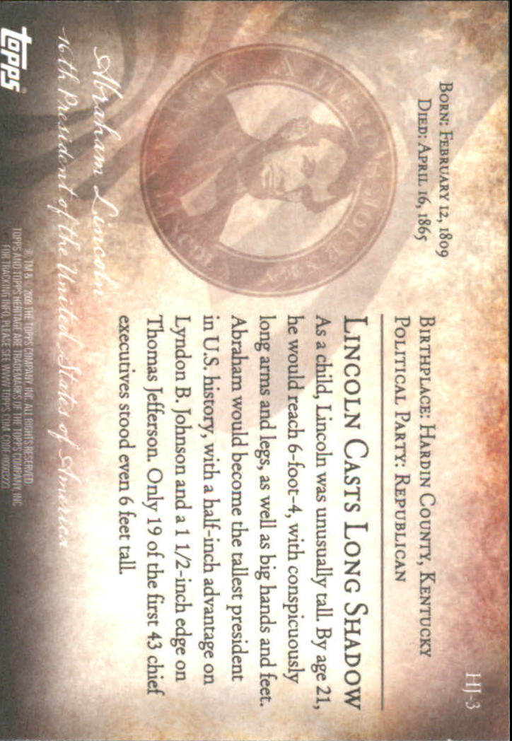 2009 Topps American Heritage Heroes A Hero's Journey #HJ3 Abraham Lincoln back image