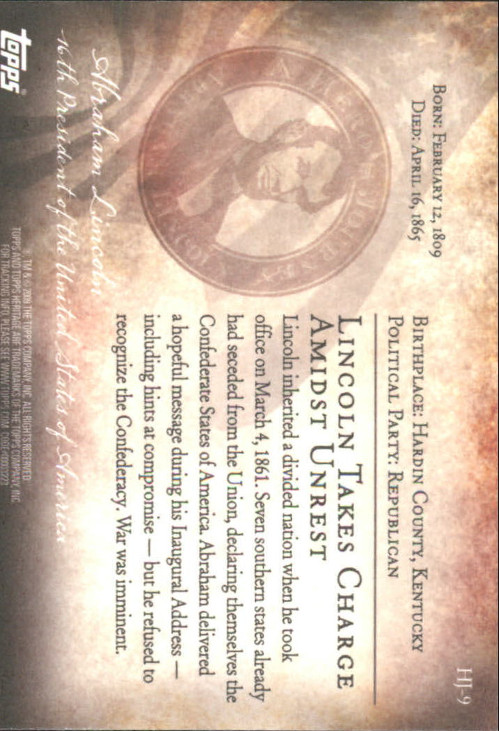 2009 Topps American Heritage Heroes A Hero's Journey #HJ9 Abraham Lincoln back image
