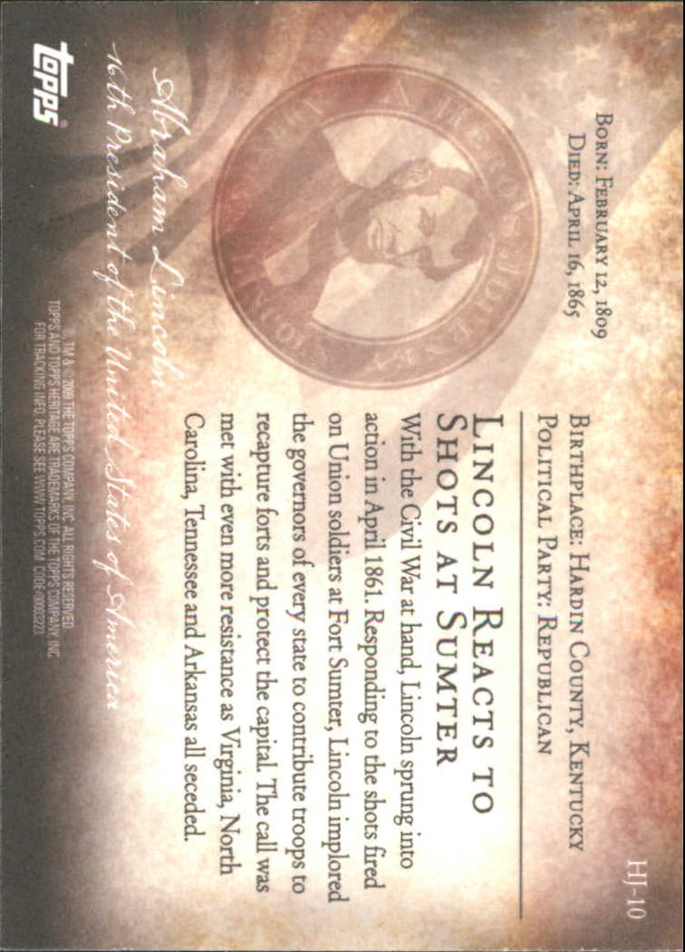 2009 Topps American Heritage Heroes A Hero's Journey #HJ10 Abraham Lincoln back image