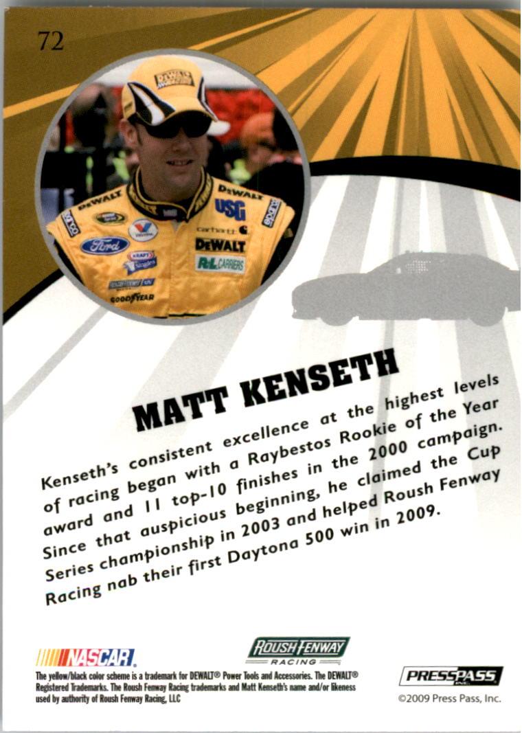 2009 Press Pass Fusion #72 Matt Kenseth back image