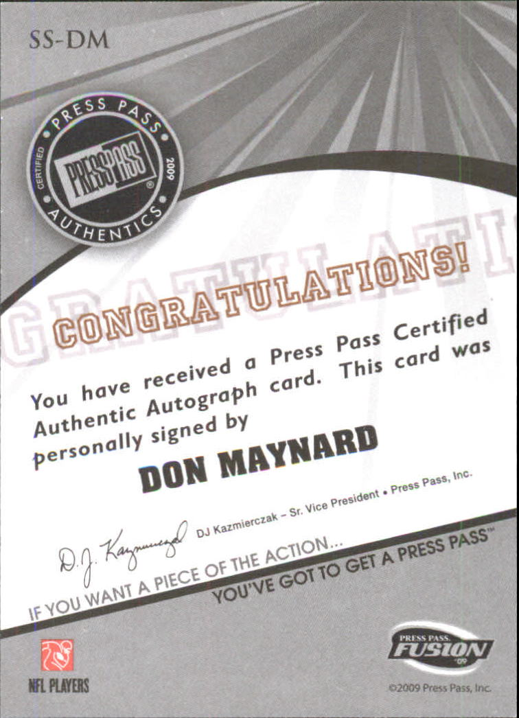 2009 Press Pass Fusion Autographs Silver #SSDM Don Maynard back image