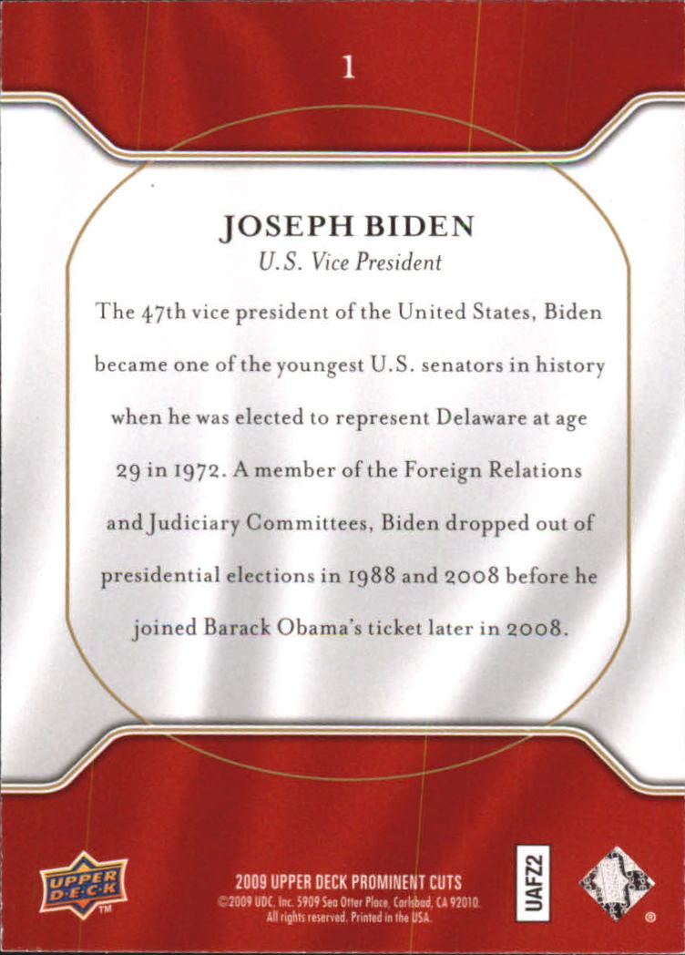 2009 Upper Deck Prominent Cuts #1 Joseph Biden back image