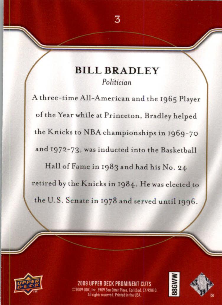 2009 Upper Deck Prominent Cuts #3 Bill Bradley back image