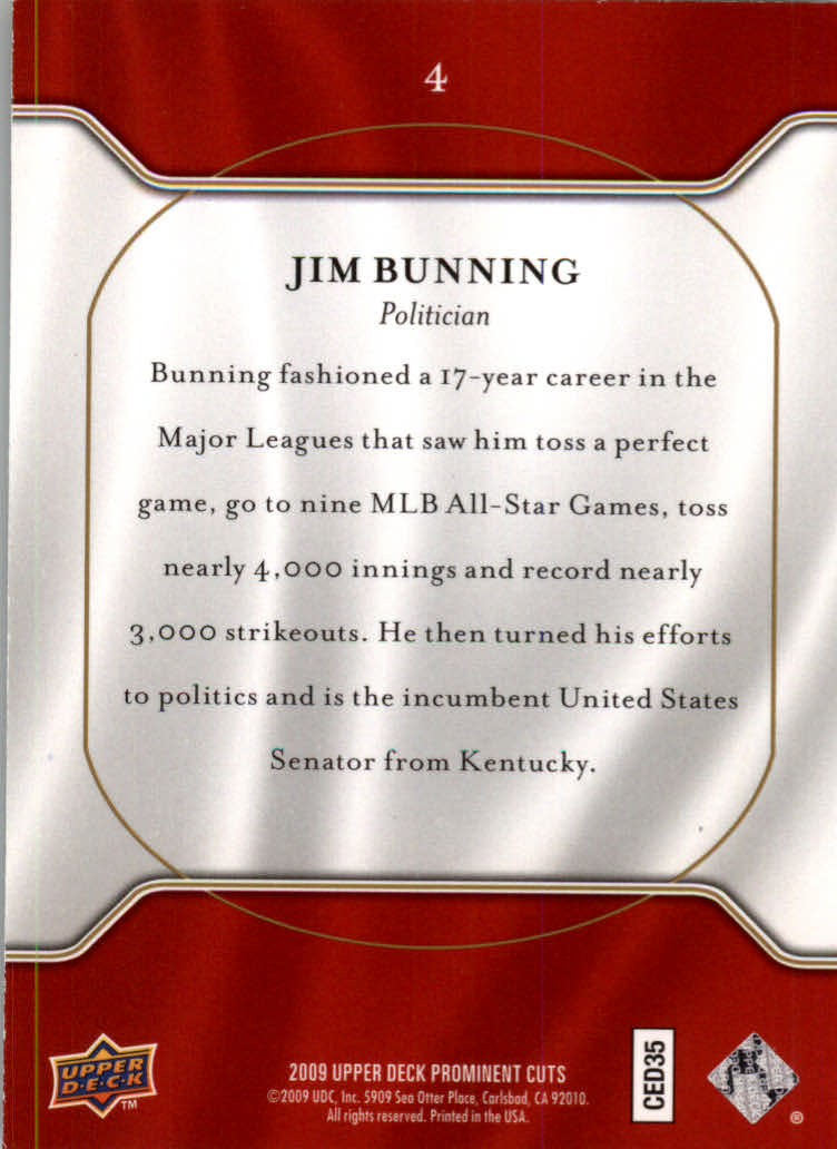 2009 Upper Deck Prominent Cuts #4 Jim Bunning back image