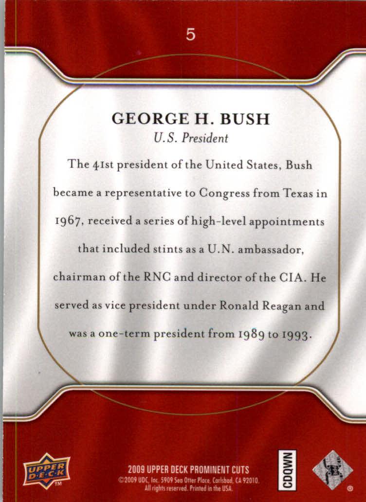 2009 Upper Deck Prominent Cuts #5 George H. Bush back image