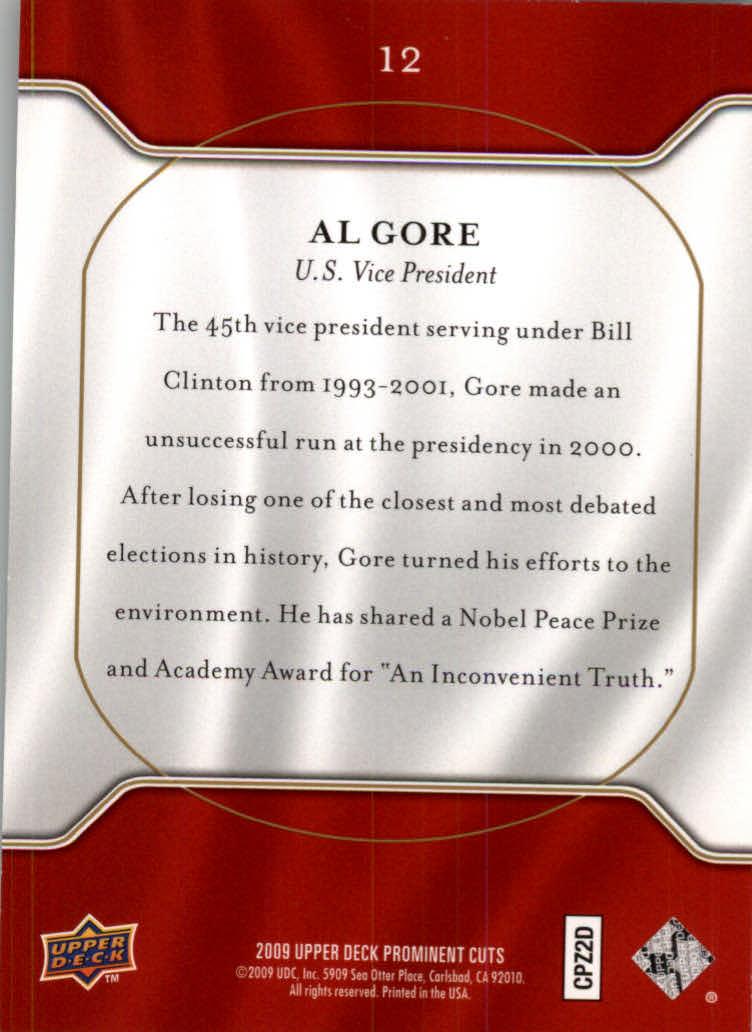 2009 Upper Deck Prominent Cuts #12 Al Gore back image