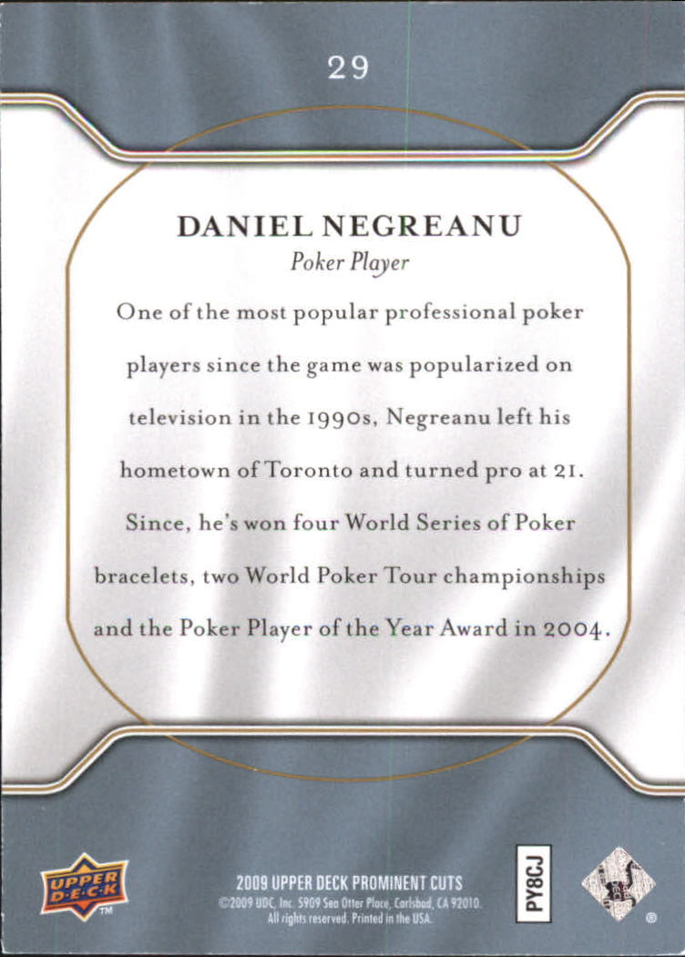 2009 Upper Deck Prominent Cuts #29 Daniel Negreanu back image