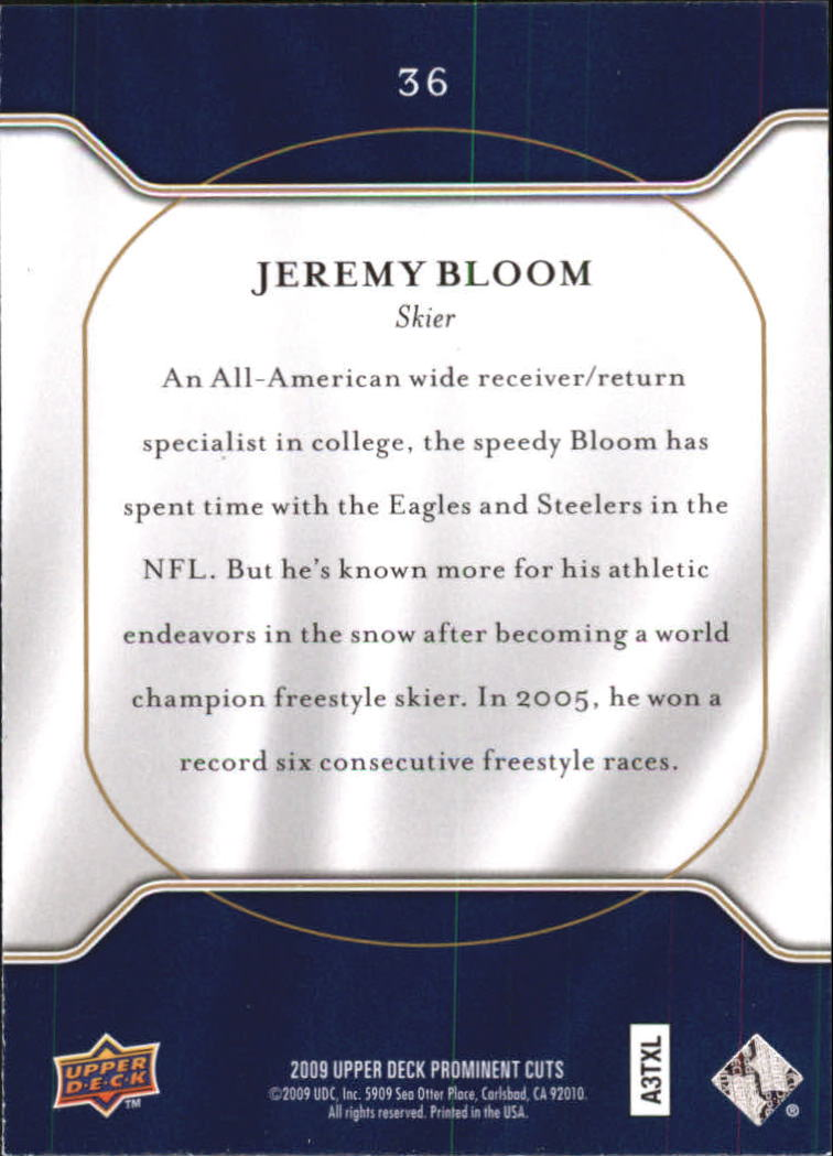 2009 Upper Deck Prominent Cuts #36 Jeremy Bloom back image