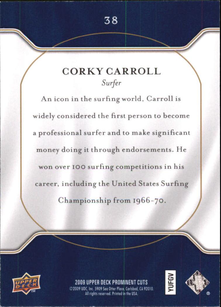 2009 Upper Deck Prominent Cuts #38 Corky Carroll back image