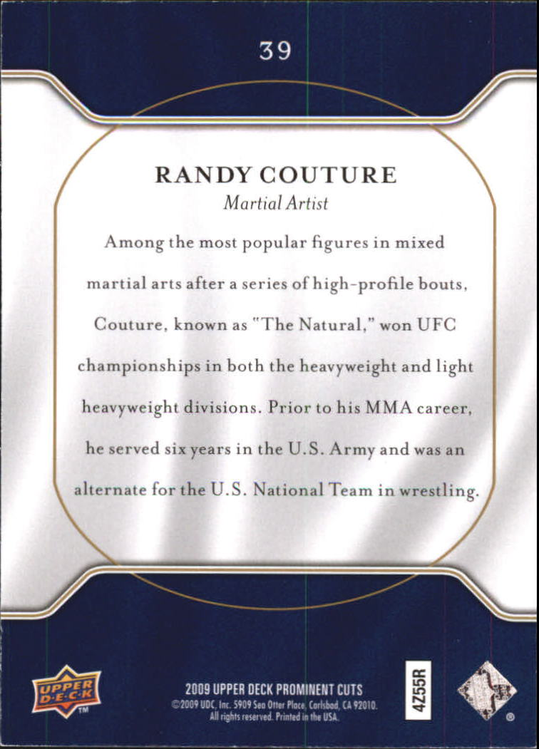 2009 Upper Deck Prominent Cuts #39 Randy Couture back image