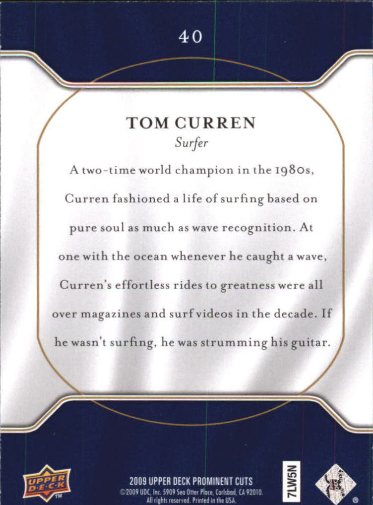 2009 Upper Deck Prominent Cuts #40 Tom Curren back image