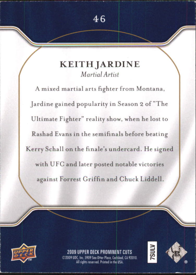 2009 Upper Deck Prominent Cuts #46 Keith Jardine back image