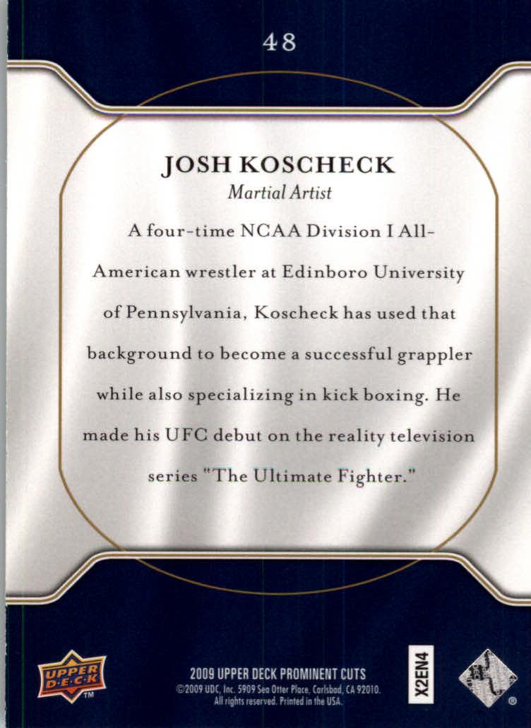 2009 Upper Deck Prominent Cuts #48 Josh Koscheck back image