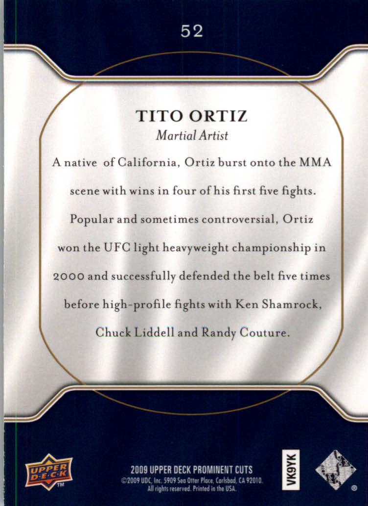 2009 Upper Deck Prominent Cuts #52 Tito Ortiz back image
