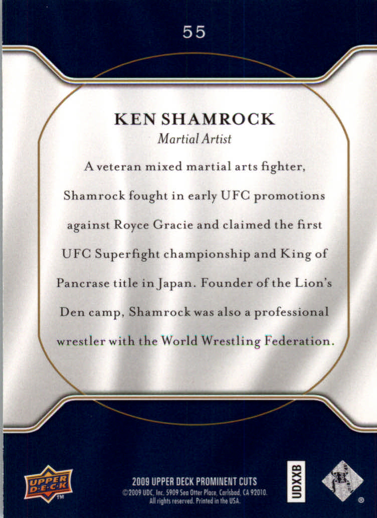 2009 Upper Deck Prominent Cuts #55 Ken Shamrock back image