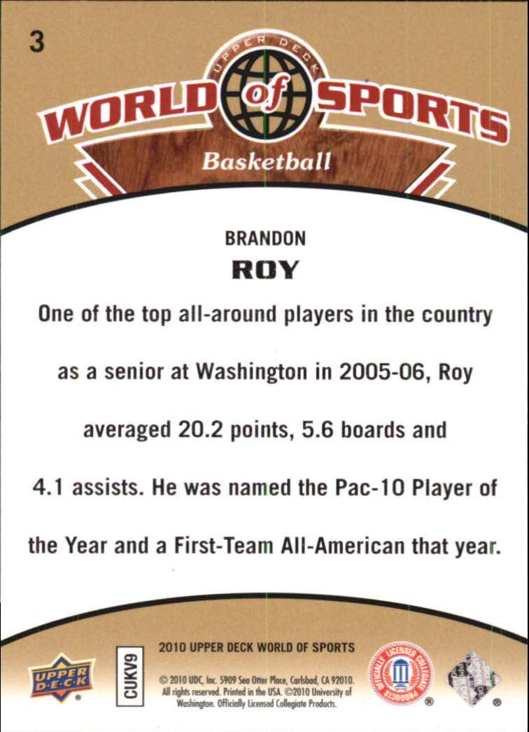 2010 Upper Deck World of Sports #3 Brandon Roy back image