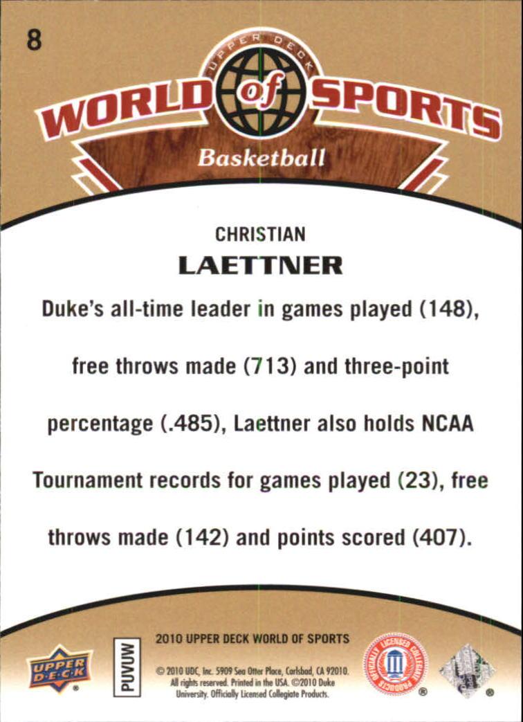 2010 Upper Deck World of Sports #8 Christian Laettner back image