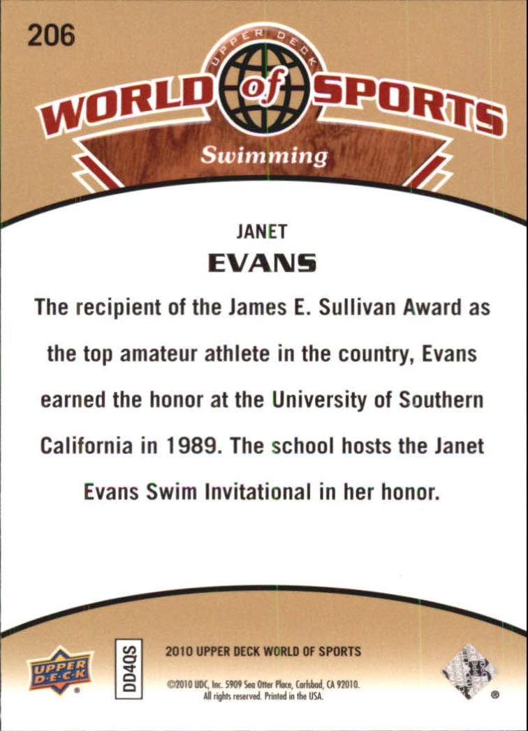 2010 Upper Deck World of Sports #206 Janet Evans back image