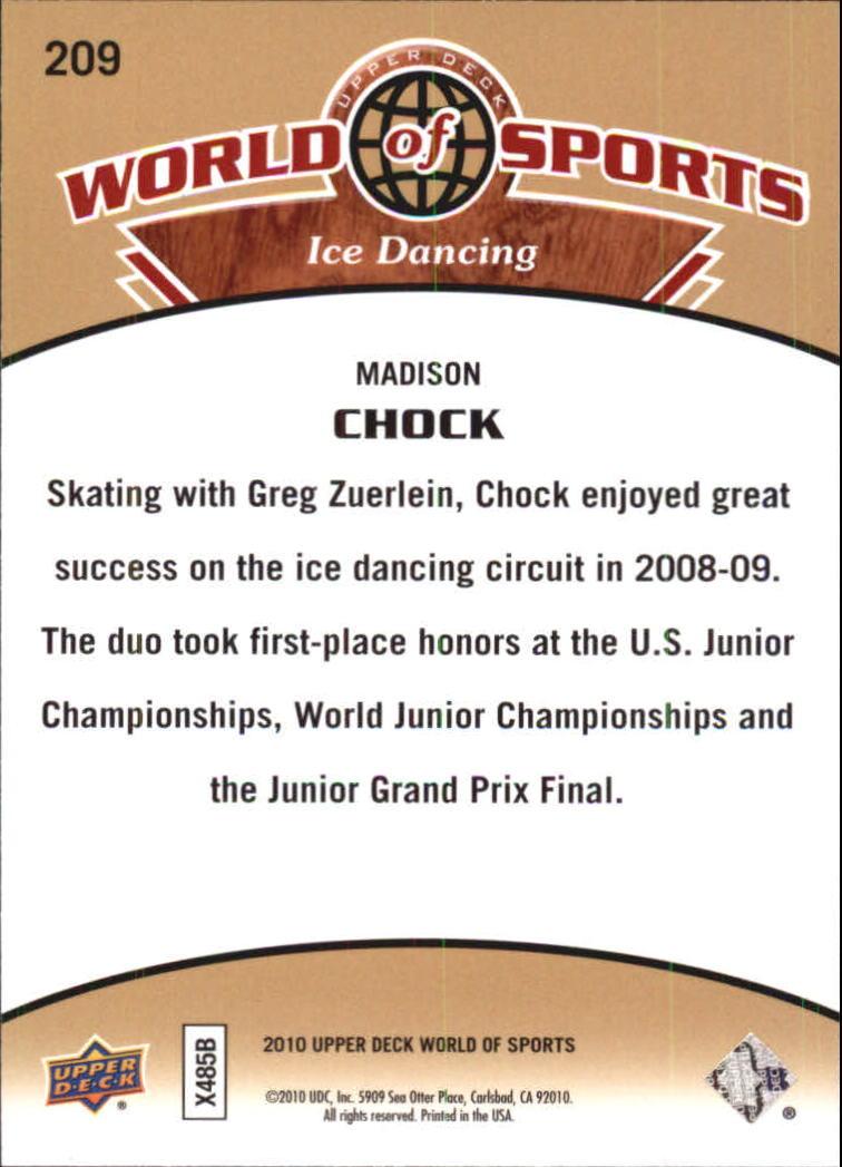 2010 Upper Deck World of Sports #209 Madison Chock back image