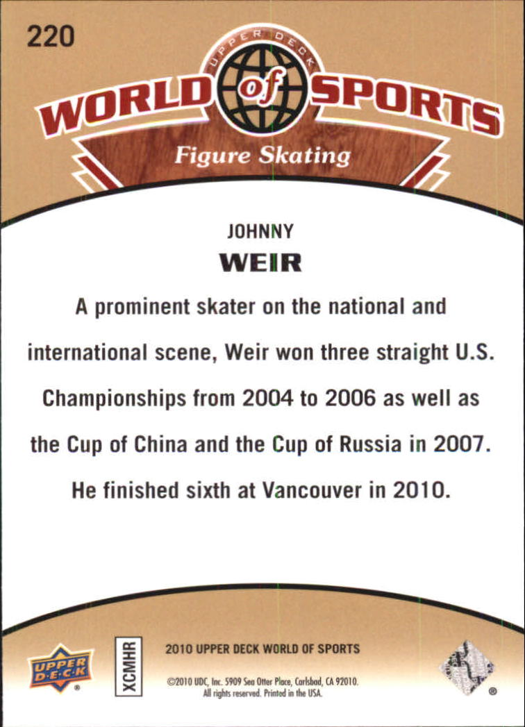 2010 Upper Deck World of Sports #220 Johnny Weir back image