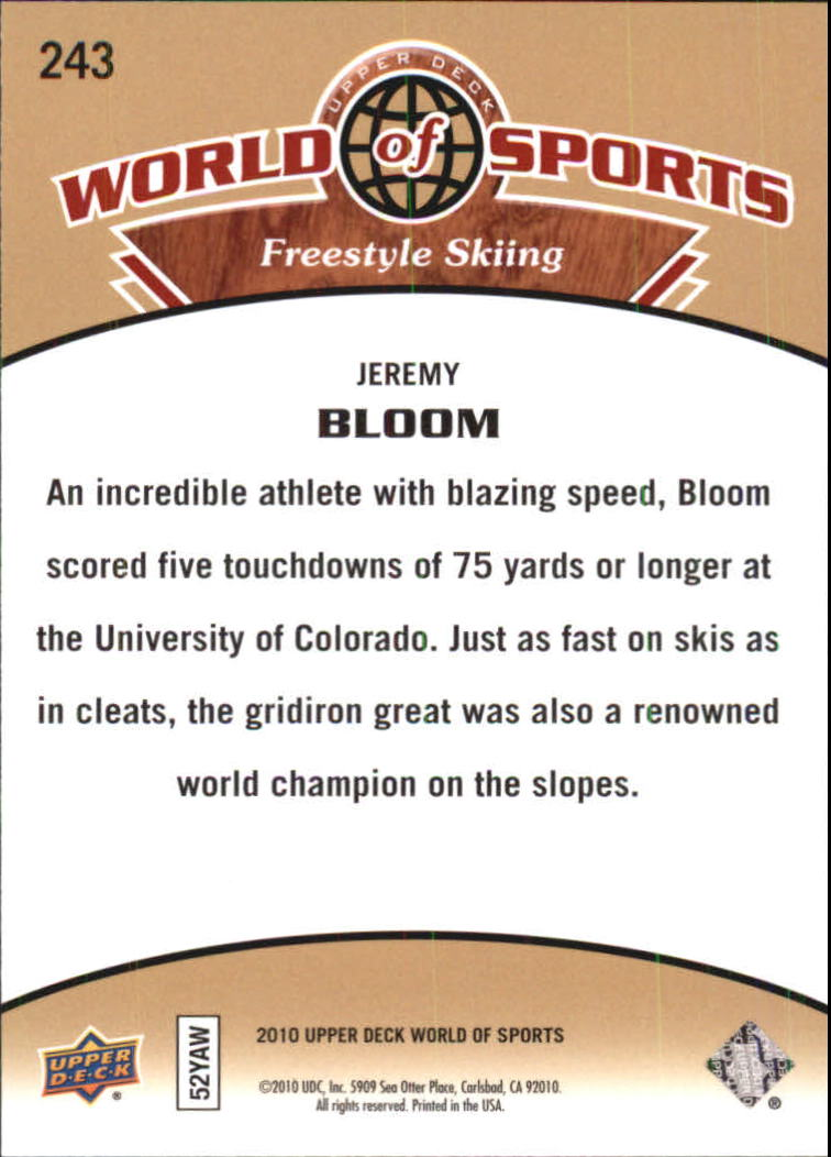 2010 Upper Deck World of Sports #243 Jeremy Bloom back image