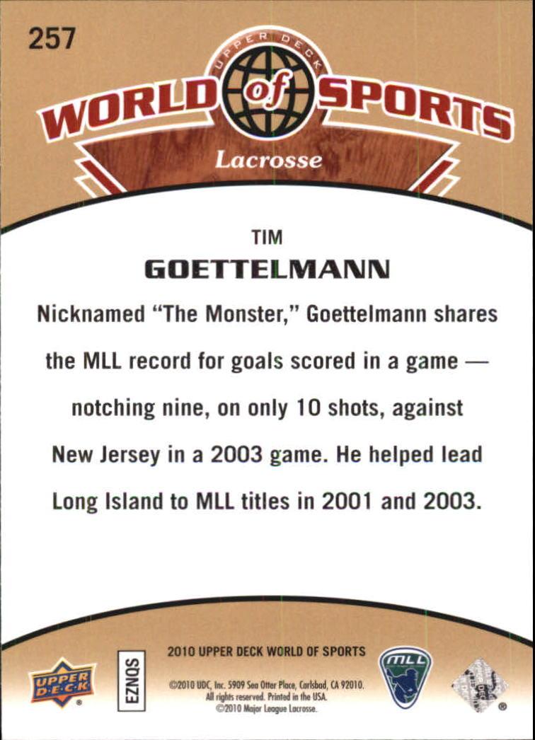 2010 Upper Deck World of Sports #257 Tim Goettelmann back image