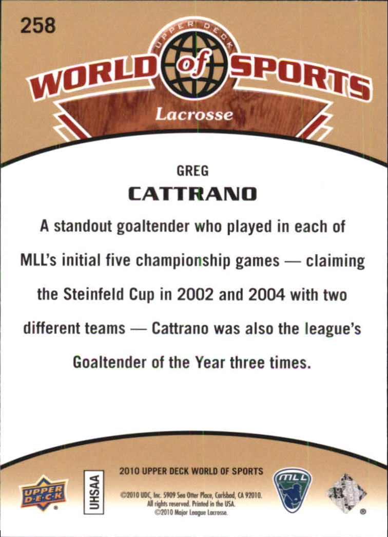 2010 Upper Deck World of Sports #258 Greg Cattrano back image