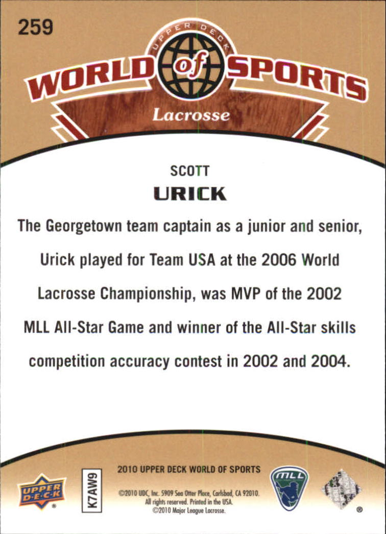 2010 Upper Deck World of Sports #259 Scott Urick back image