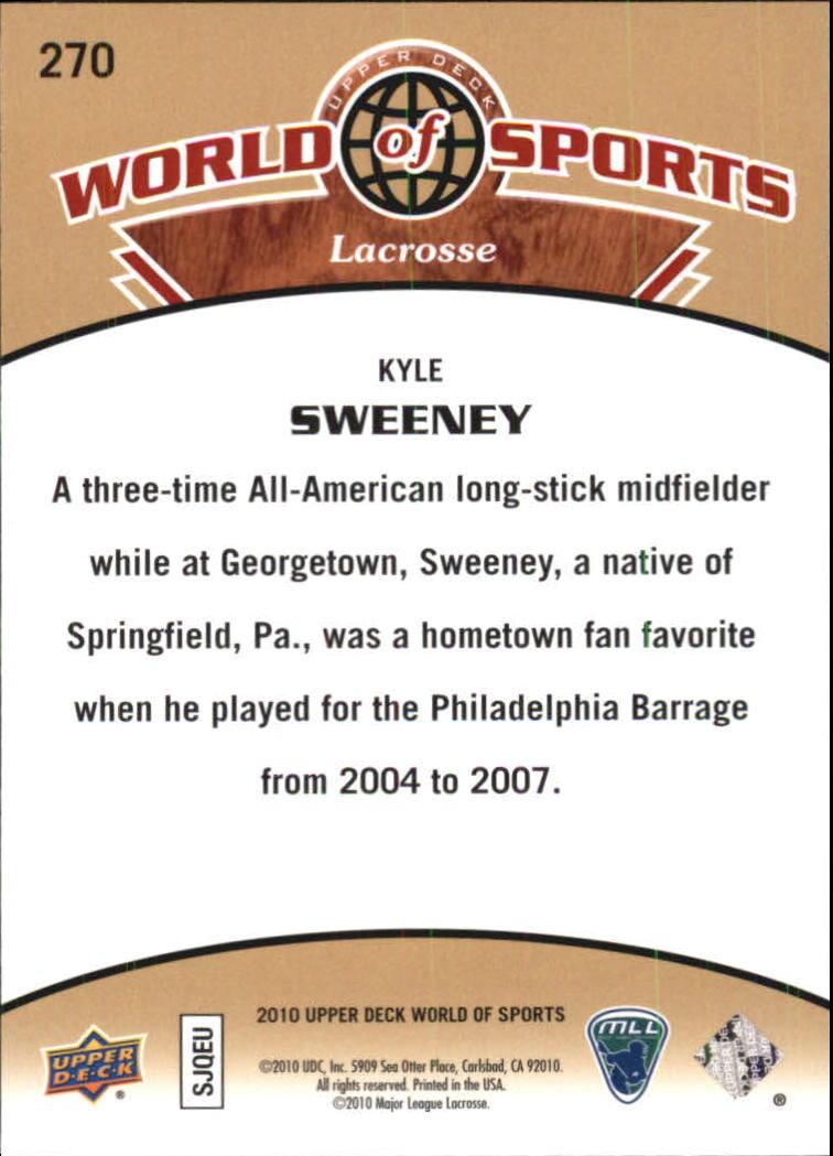 2010 Upper Deck World of Sports #270 Kyle Sweeney back image