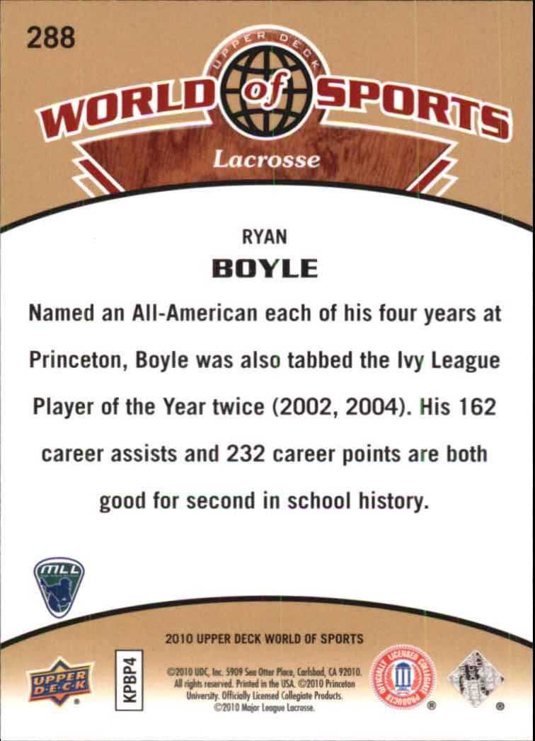 2010 Upper Deck World of Sports #288 Ryan Boyle back image