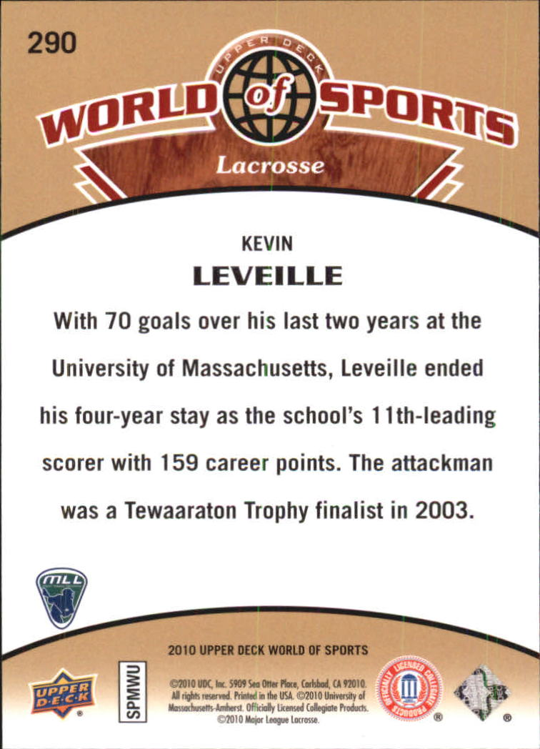 2010 Upper Deck World of Sports #290 Kevin Leveille back image