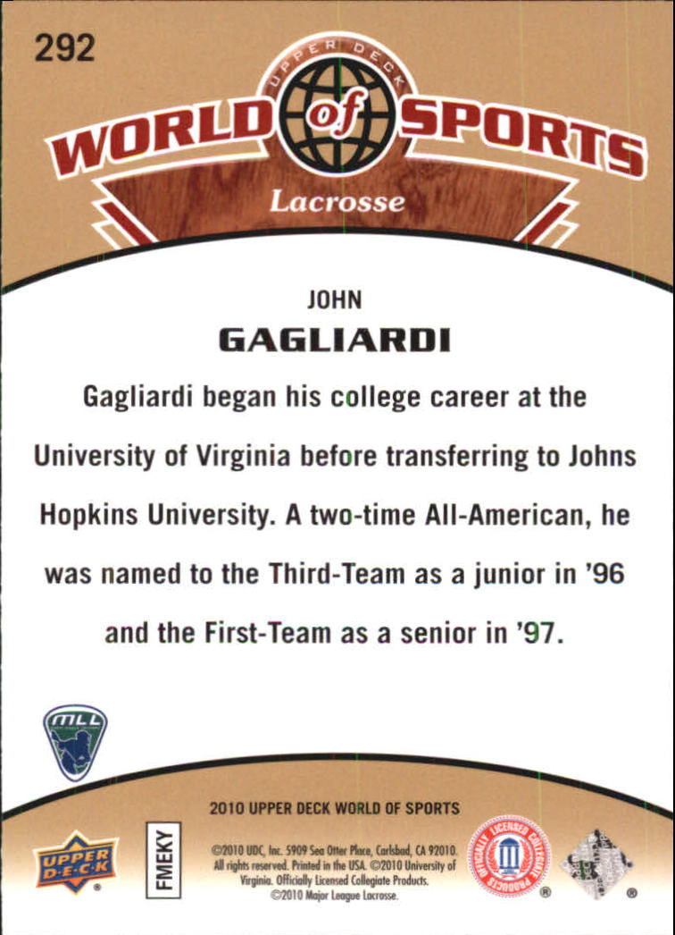 2010 Upper Deck World of Sports #292 John Gagliardi back image