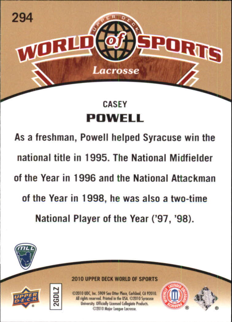 2010 Upper Deck World of Sports #294 Casey Powell back image