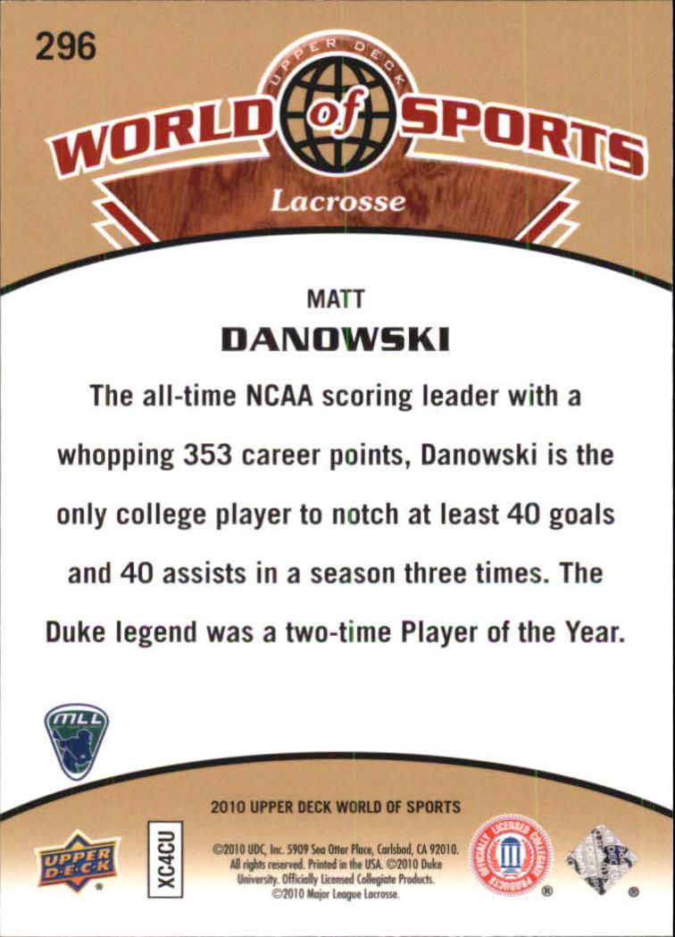 2010 Upper Deck World of Sports #296 Matt Danowski back image