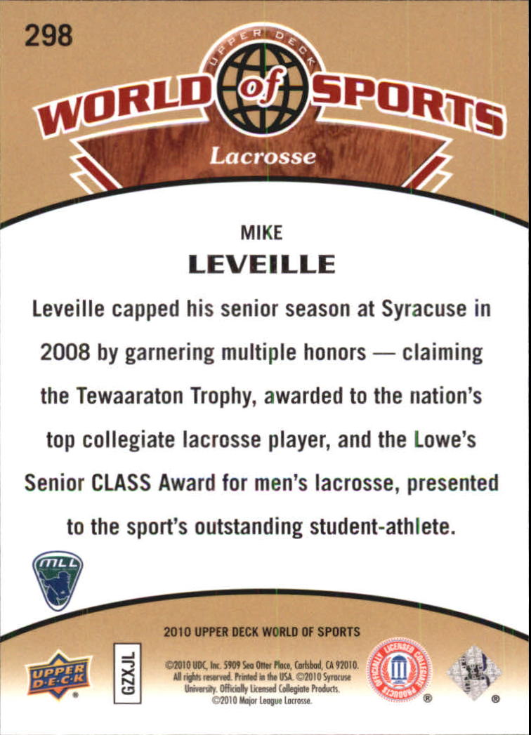 2010 Upper Deck World of Sports #298 Mike Leveille back image