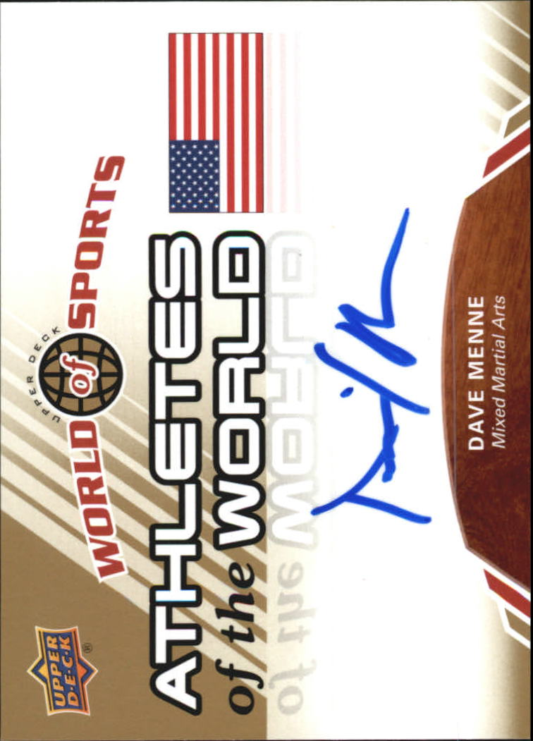 2010 Upper Deck World of Sports Athletes of the World Autographs #AW63 Dave Menne