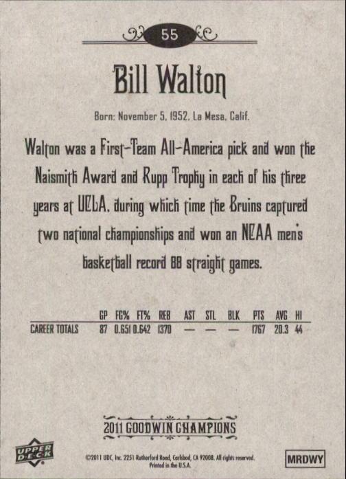 2011 Upper Deck Goodwin Champions #55 Bill Walton back image