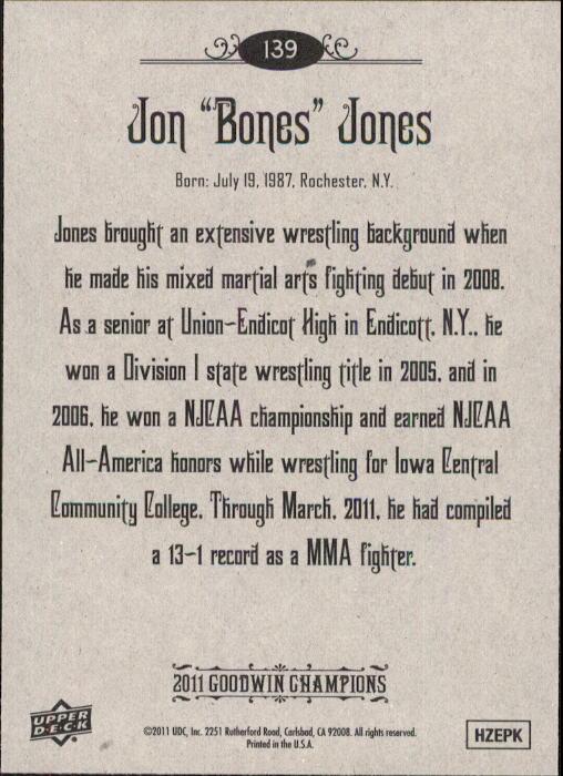 2011 Upper Deck Goodwin Champions #139 Jon Bones Jones back image