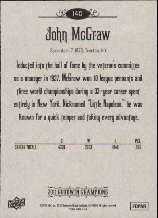 2011 Upper Deck Goodwin Champions #140 John McGraw back image