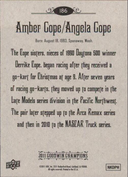2011 Upper Deck Goodwin Champions #186 Amber Cope/Angela Cope SP back image