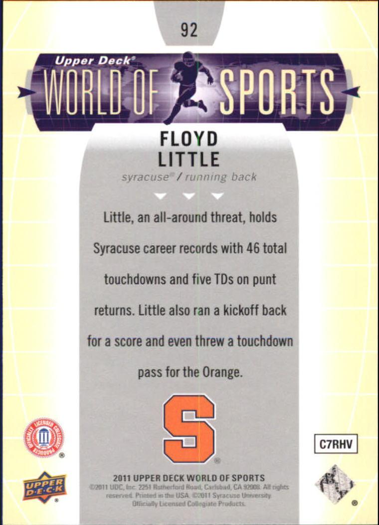 2011 Upper Deck World of Sports #92 Floyd Little back image