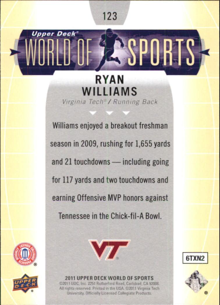 2011 Upper Deck World of Sports #123 Ryan Williams back image